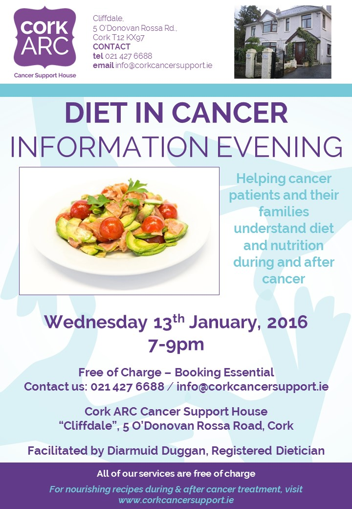 Our first of two Diet in Cancer Information Evenings, to be held in our Cork city cancer support centre, Wed 13 January.