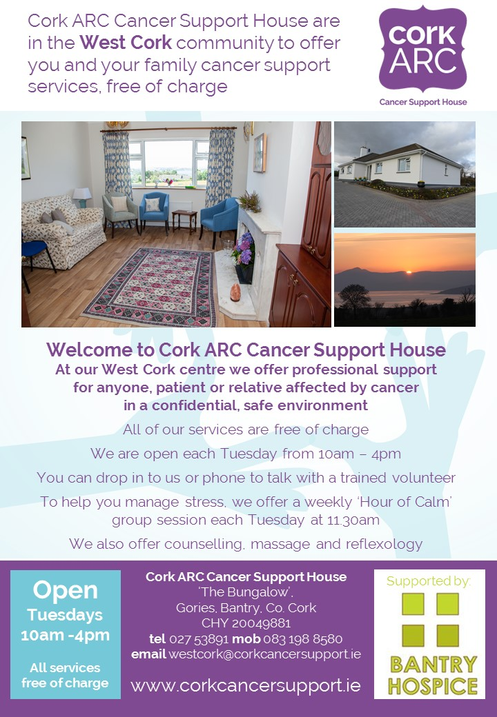 Cork ARC are open each Tuesday at 'The Bungalow' in Bantry, and all services are free of charge.