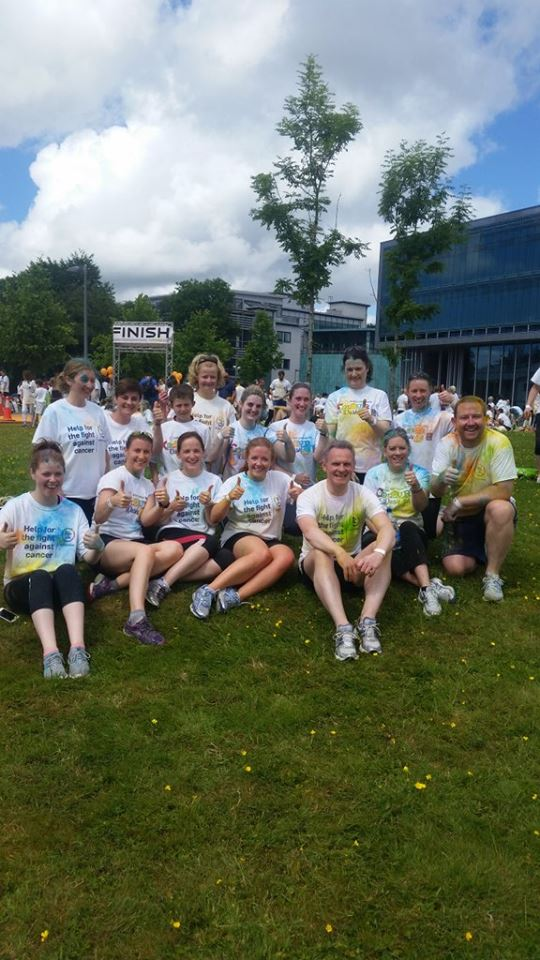 Team Ulster Bank Galway looking happy and very colourful after Irish Cancer Society Colour Dash on Sunday 12th June 2016..jpg