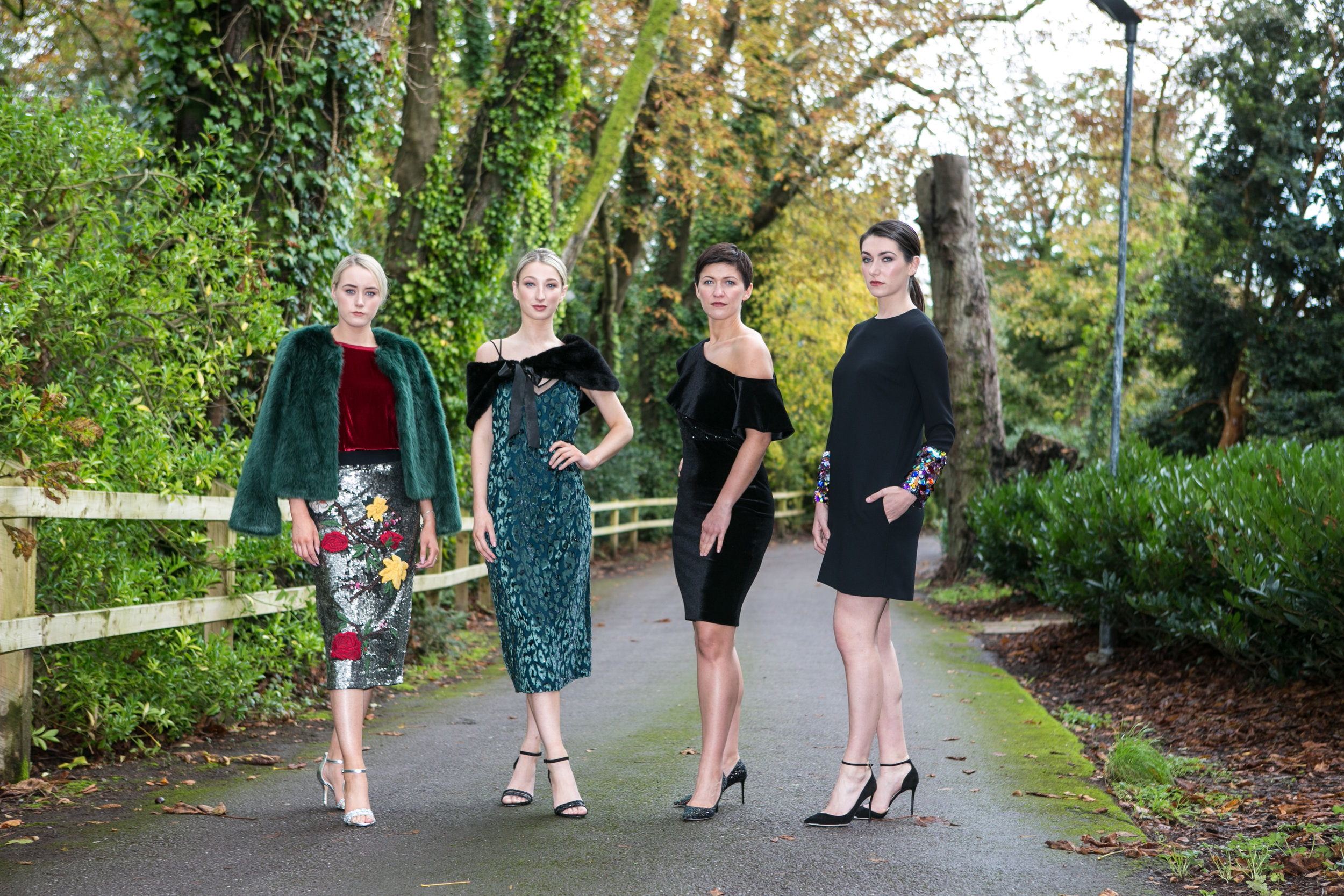 Aoife, Isabelle, Ania and Ciara modelled designs by; Alice & Olivia, Boss, Armani, Victoria Beckham and Jimmy Choo from Brown Thomas at the Annual Aer Lingus Autumn Lunch in aid of Cork ARC Cancer Support House