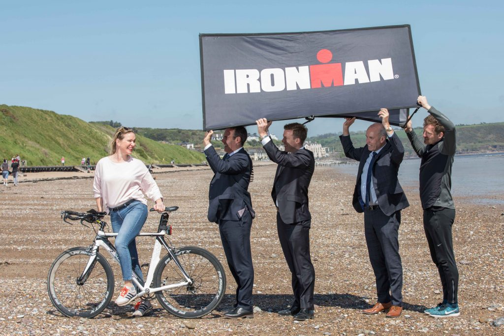 Chef Rachel Allen, Mayor of Cork County Cllr Declan Hurley, Paul Byrne, MD Ironman UK & Ireland, Chief Executive of Cork County Tim Lucey and Gavin Noble, Irish Olympian and Iron Man Coach on Claycastle Beach, Youghal for the launch of the first full IRONMAN triathlon event in Ireland which will take place in Youghal on 23rd June 2019 and is proudly supported by Cork County Council