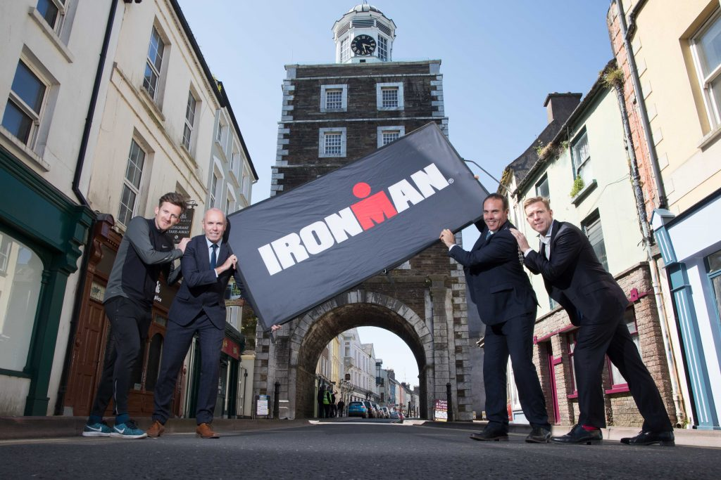 Gavin Noble, Irish Olympian and Iron Man Coach, Chief Executive of Cork County Tim Lucey, Mayor of Cork County Cllr Declan Hurley and Paul Byrne, MD Ironman UK & Ireland under the Clock Tower in Youghal for the launch of the first full IRONMAN triathlon event in Ireland which will take place in Youghal on 23rd June 2019 and is proudly supported by Cork County Council