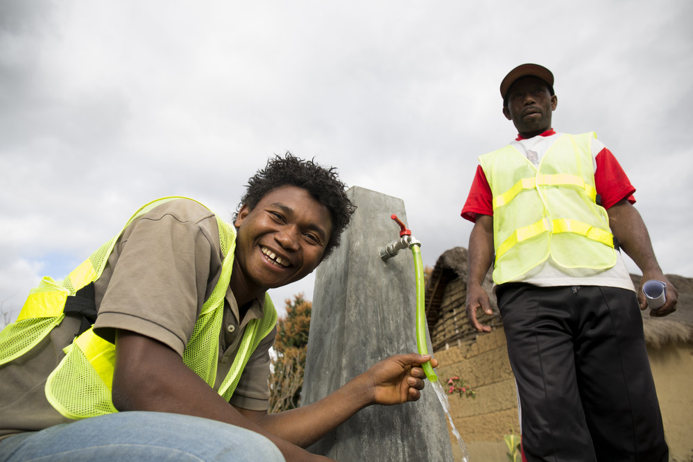 """""""We've been working so hard to implement the whole water system for the last few months and now we have it in the village."""" - Evariste, 22 years old. Evariste and Daniel are local technicians who have worked on the third water facilitation in Belavabary, Madagascar."""