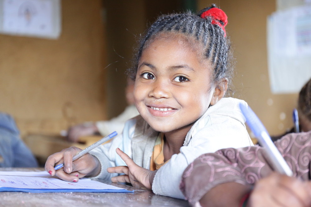 6 year old Cynthia Ramaholinirina sits in class in her village of Belavabary, Madagascar.