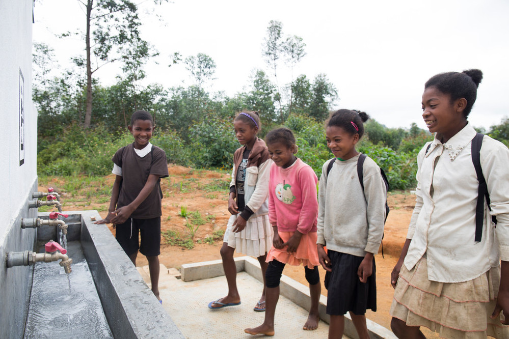 Young students know the importance of washing stations and latrines in school.