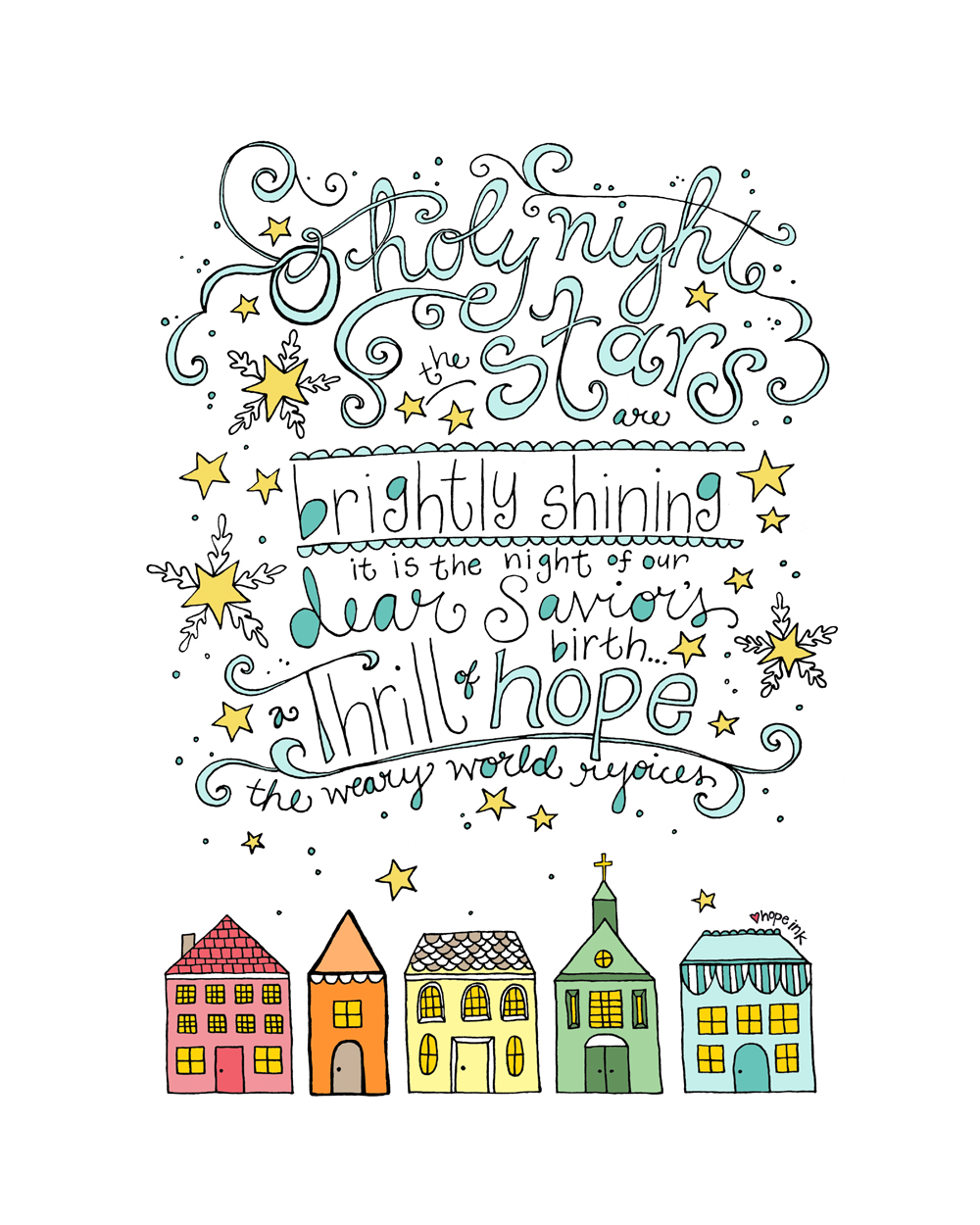 O Holy Night Rainbow Row Houses Hand Lettered Christmas Art Hope Ink.jpg