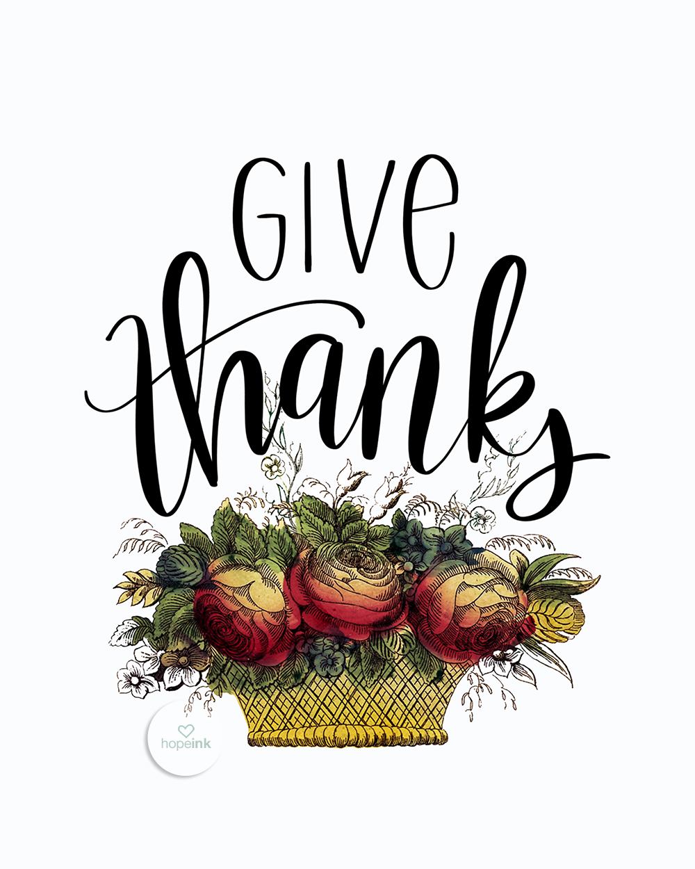 Give Thanks | Hand Lettered Vintage Art | Hope Ink.jpg