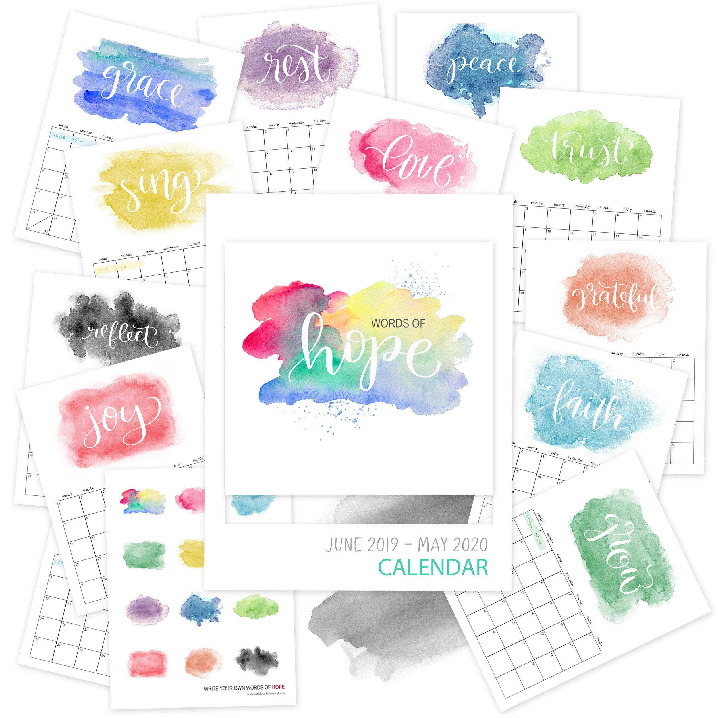 Printable Watercolor Calendar 2020 | Hope Ink.jpg