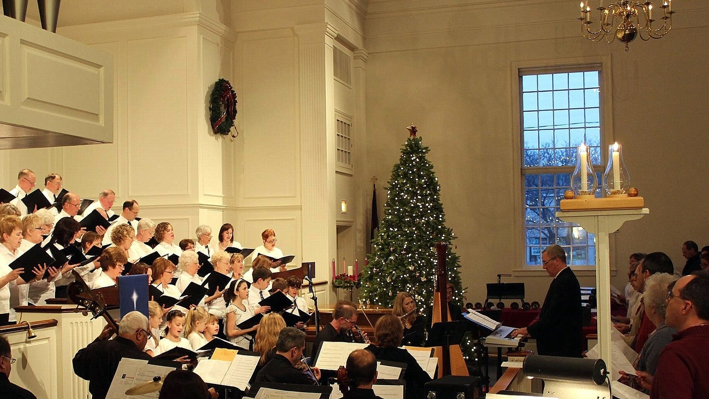Conducting choir and orchestra, Newington, Connecticut, 2013
