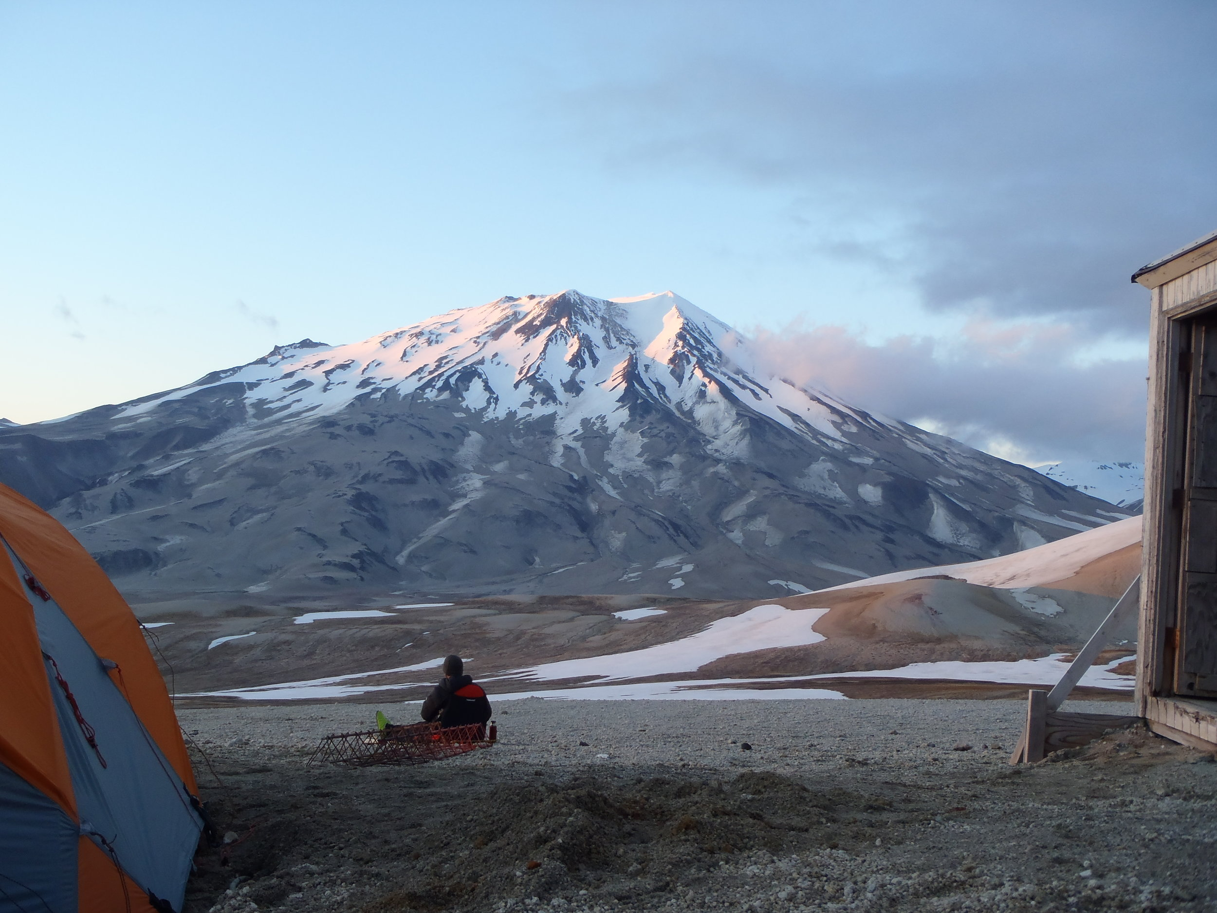 View of Mt Griggs from Baked Mountain Huts, Katmai NP, US  - UAF Volcanology Field School 2016