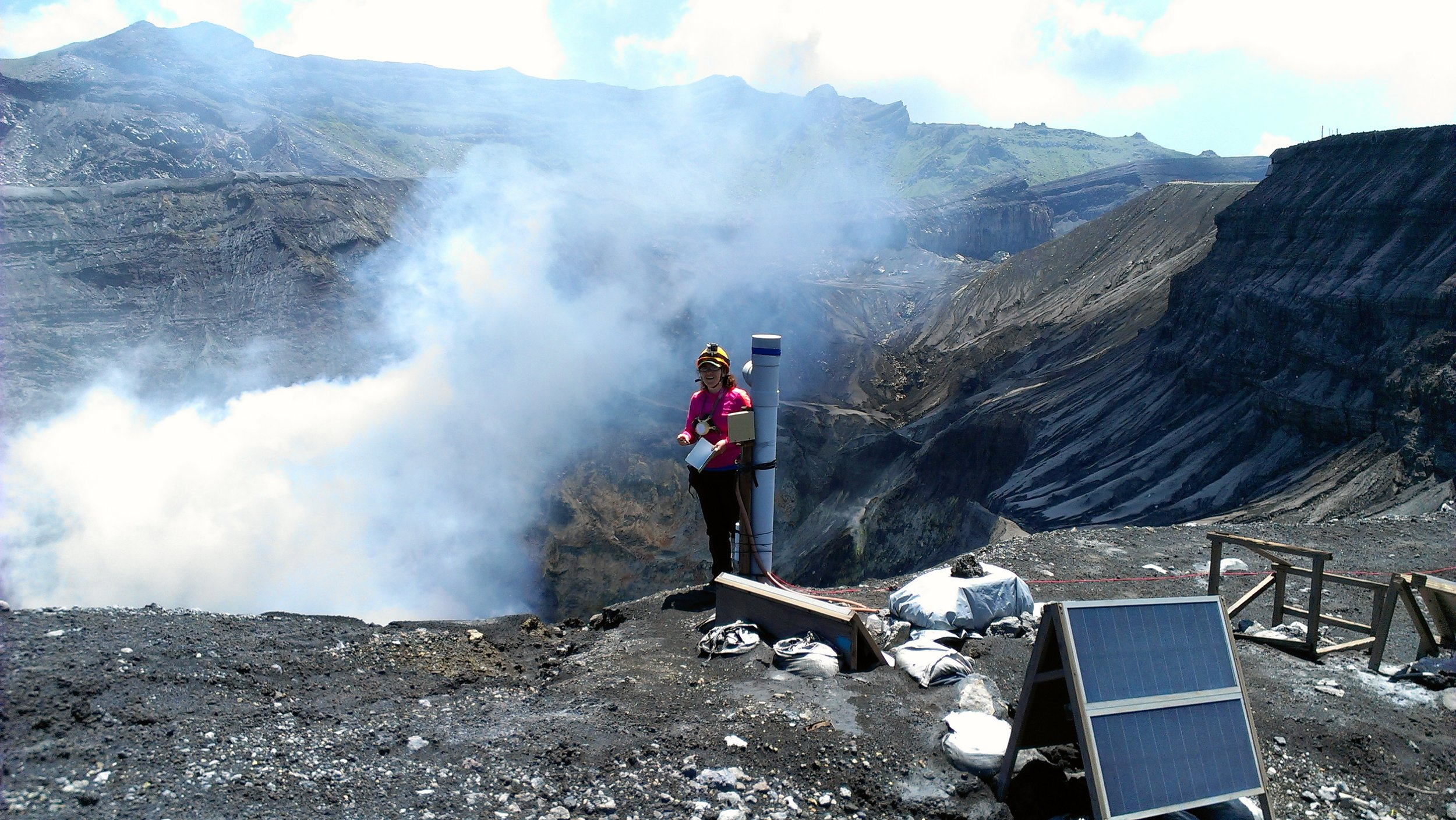 Data Collection, Aso Volcano, Japan -  NSF EAPSI Fumarole Acoustics Project - Summer 2015,  credit: T. Minami
