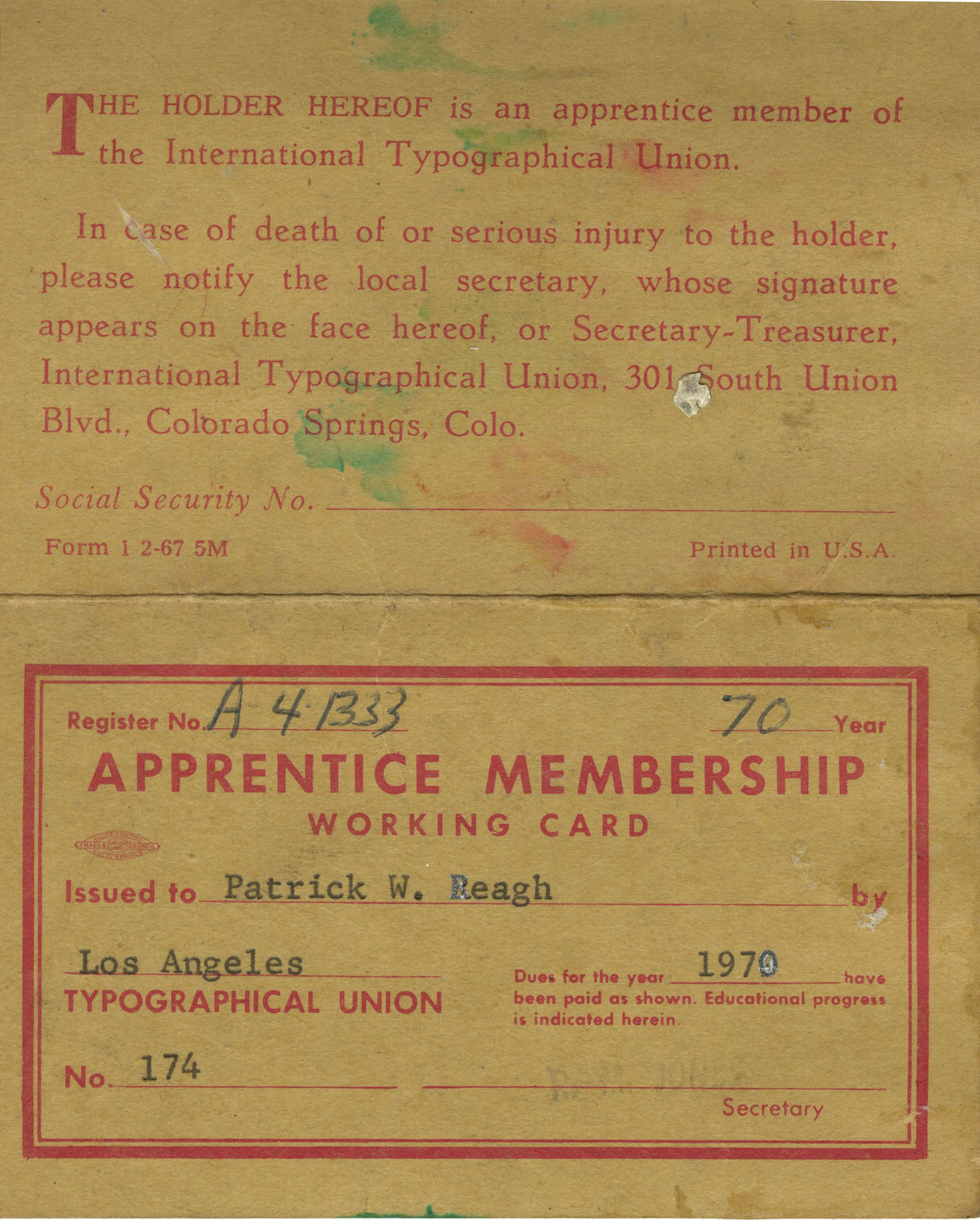 The coveted apprenticeship card guaranteeing five-years' employment (provided that all the union rules were observed).