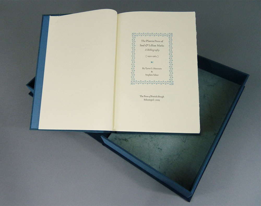 Deluxe binding clamshell box bound by Bonnie Thompson Norman of the  Windowpane Press.