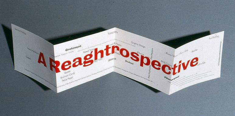 Reaghtrospective announcement, 5 x 25 inches. Patrick Reagh, Arundel Books, 1993