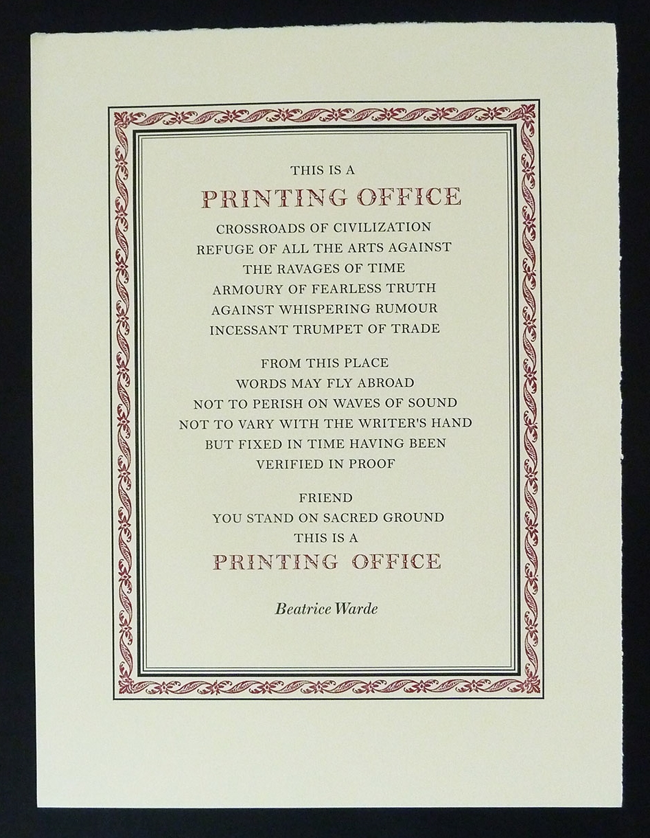 This is a Printing Office.  Broadside, 15 x 19.5 inches, Beatrice Warde. Patrick Reagh, 2006.