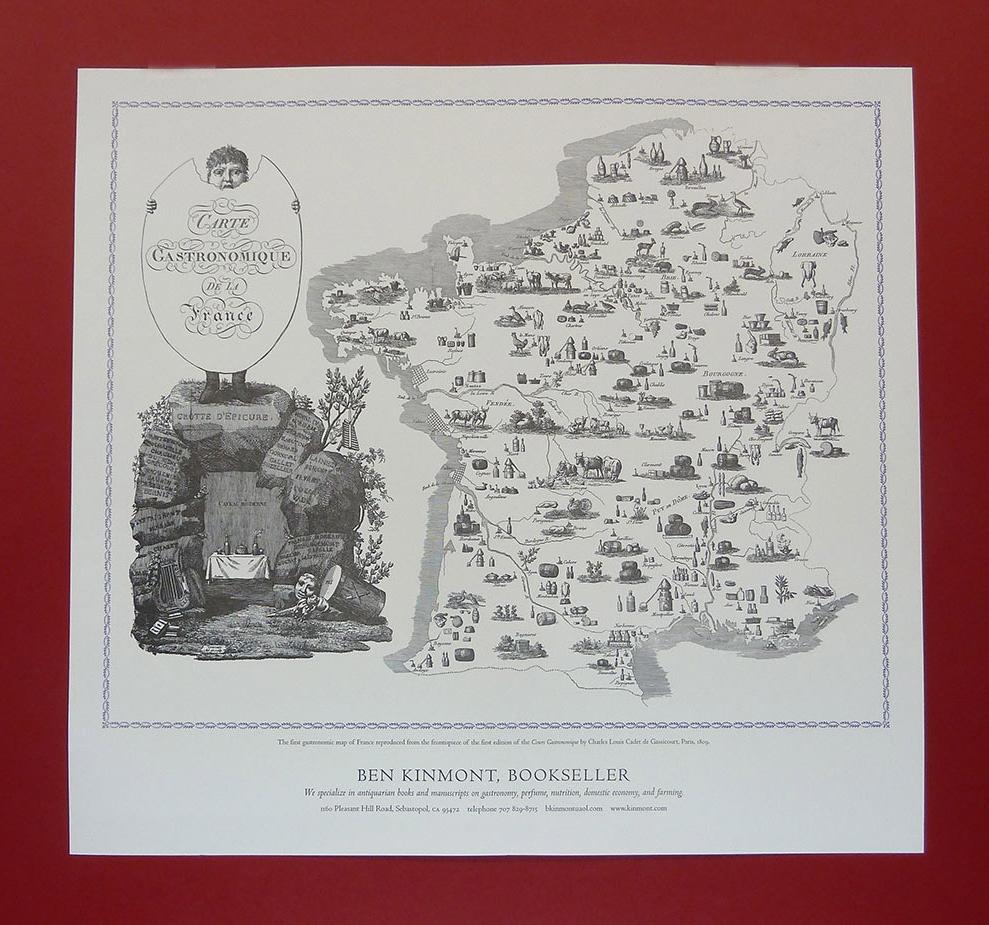 Carte Gastronomique de La France .Map, 16.5 x 20 inches. Ben Kinmont , 2009.