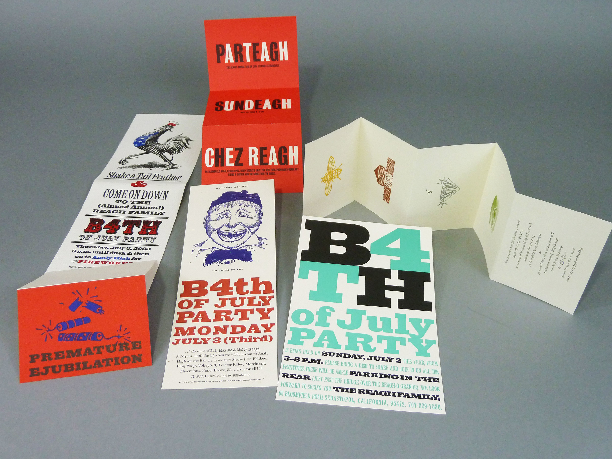 Annual invitations for the B4th-of-July parties (held on July 3rd). Patrick Reagh, 1997. . .
