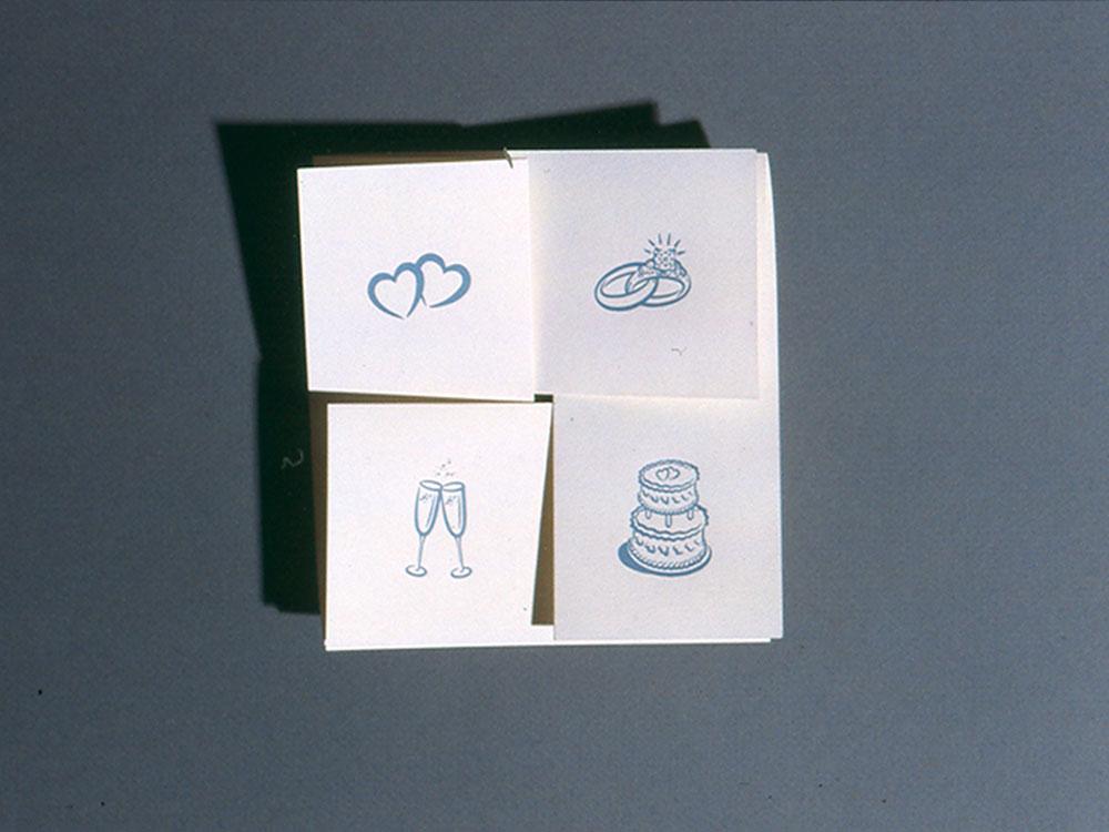 Wedding invitation, folded.