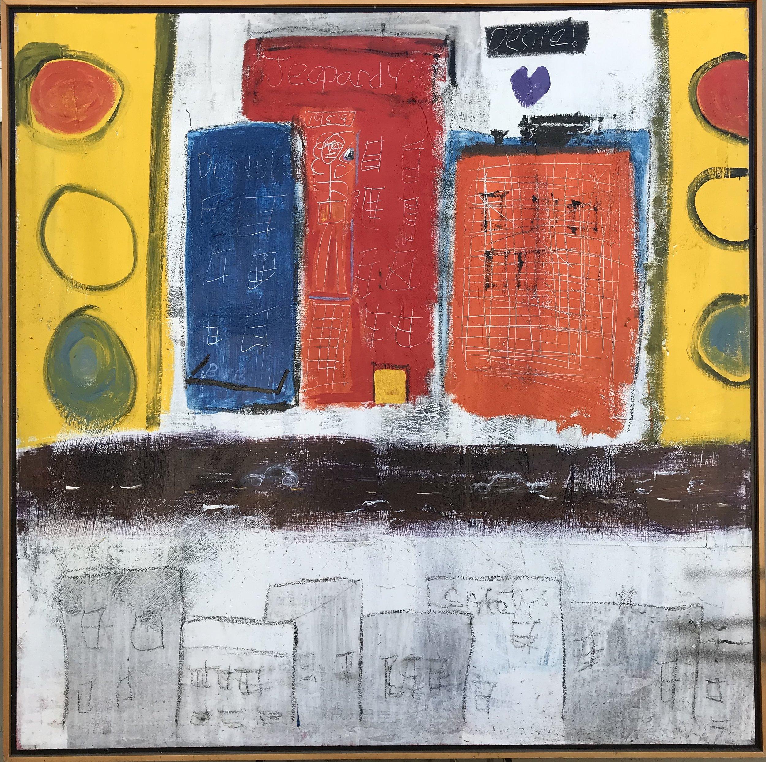 """Traffic Lights"" - 48"" x 48"", oil on canvas framed in 2 1/2"" floater frameValue: $7,000Opening bid: $2,800email your bid to: art@bradfordbrenner.com"