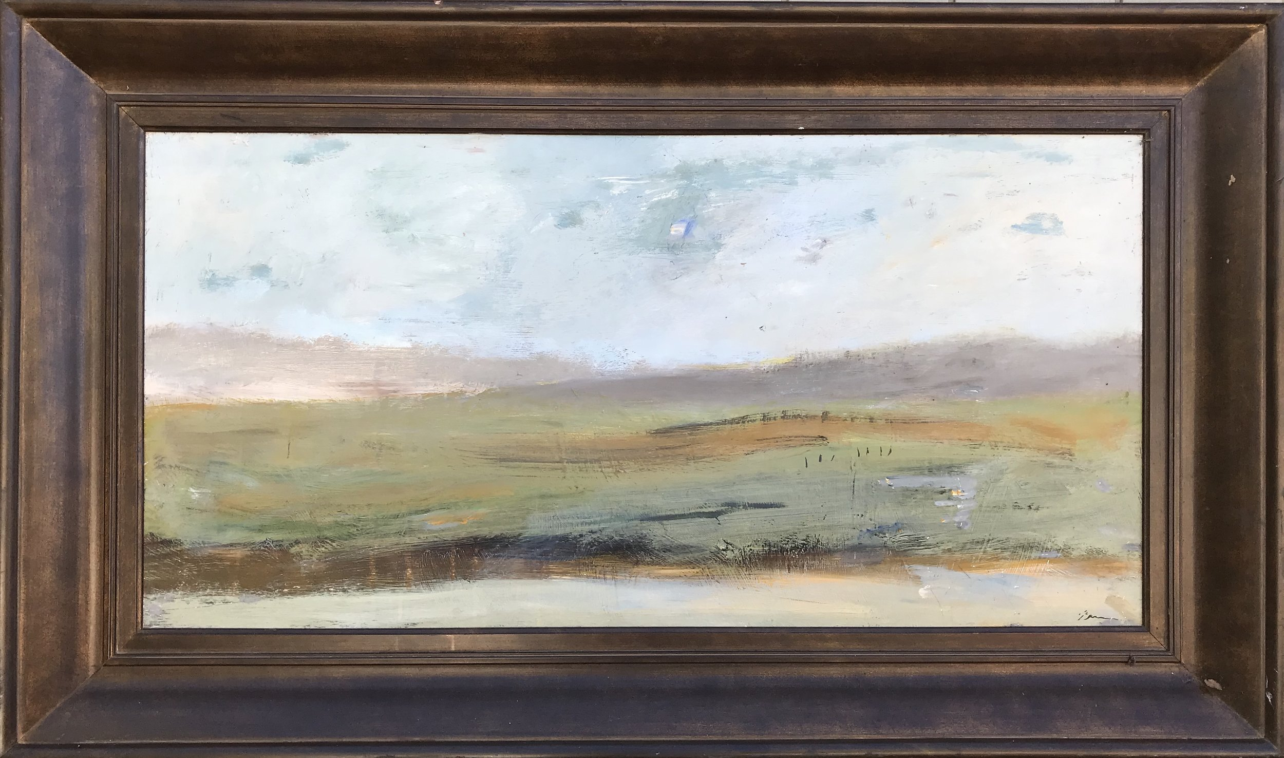 """Taking the Backroads"" - 24"" x 48"", oil on canvas framed in 3"" deep wood frameValue: $4,700Opening bid: $1,850email your bid to: art@bradfordbrenner.com"