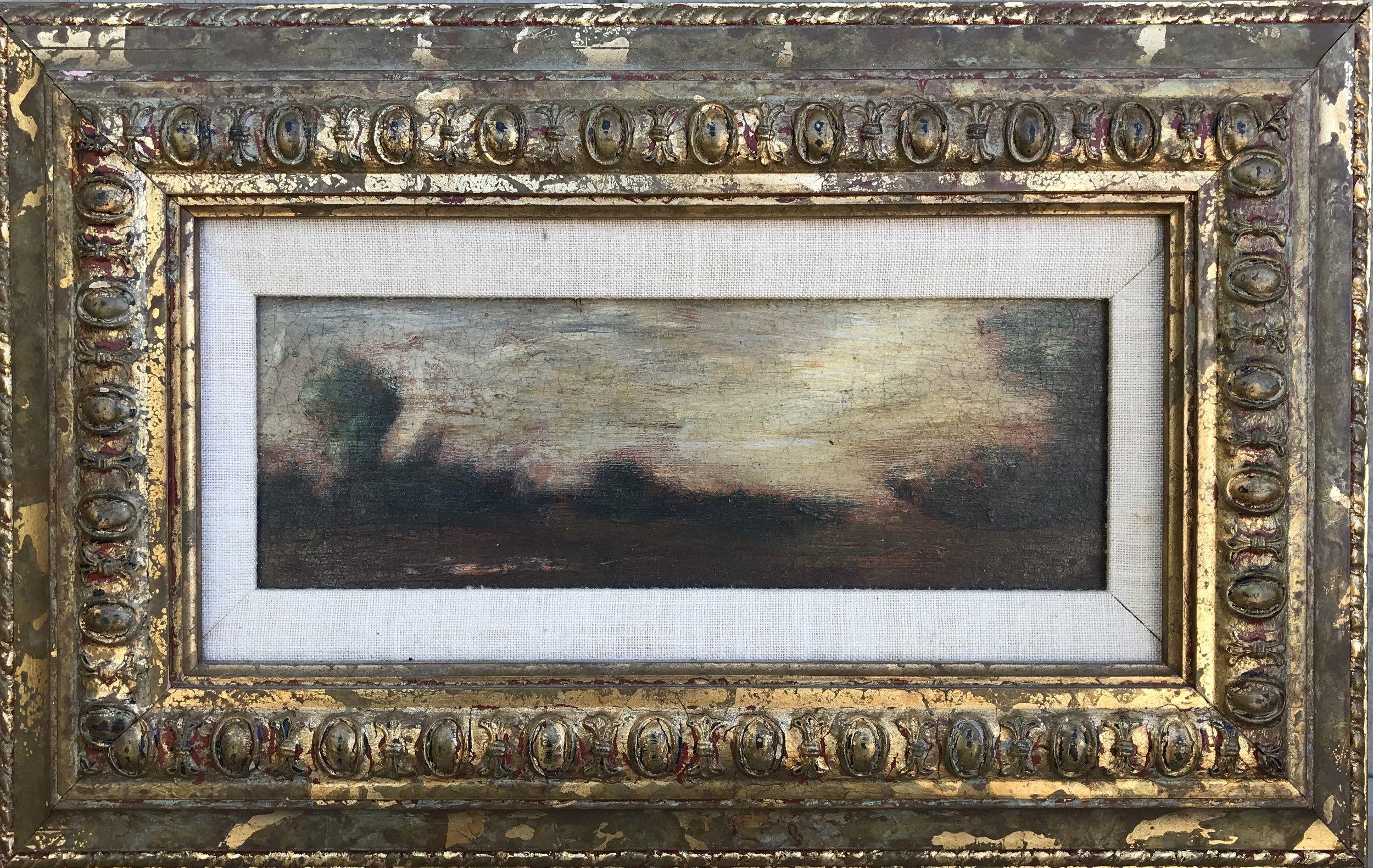 """Sunset Landscape"" - 3 1/2"" x 9 1/2"", oil on canvas. Framed: 10"" x 16""Value: $350Opening Bid: $150email your bid to: art@bradfordbrenner.com"