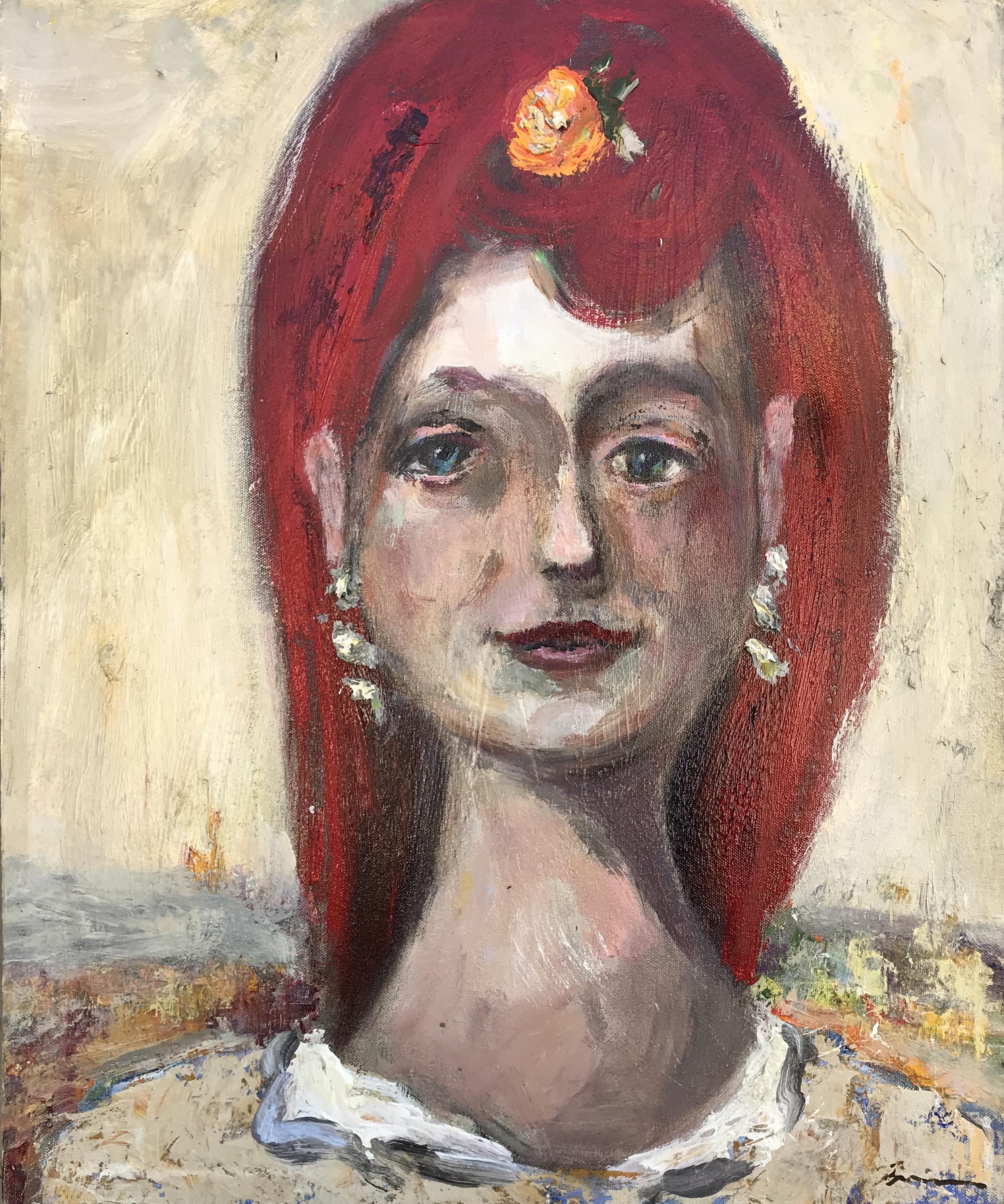 """Frida with the Mandarin"" - 23"" x 19"", oil on canvasValue: $2,150Opening bid: $850email your bid to: art@bradfordbrenner.com"