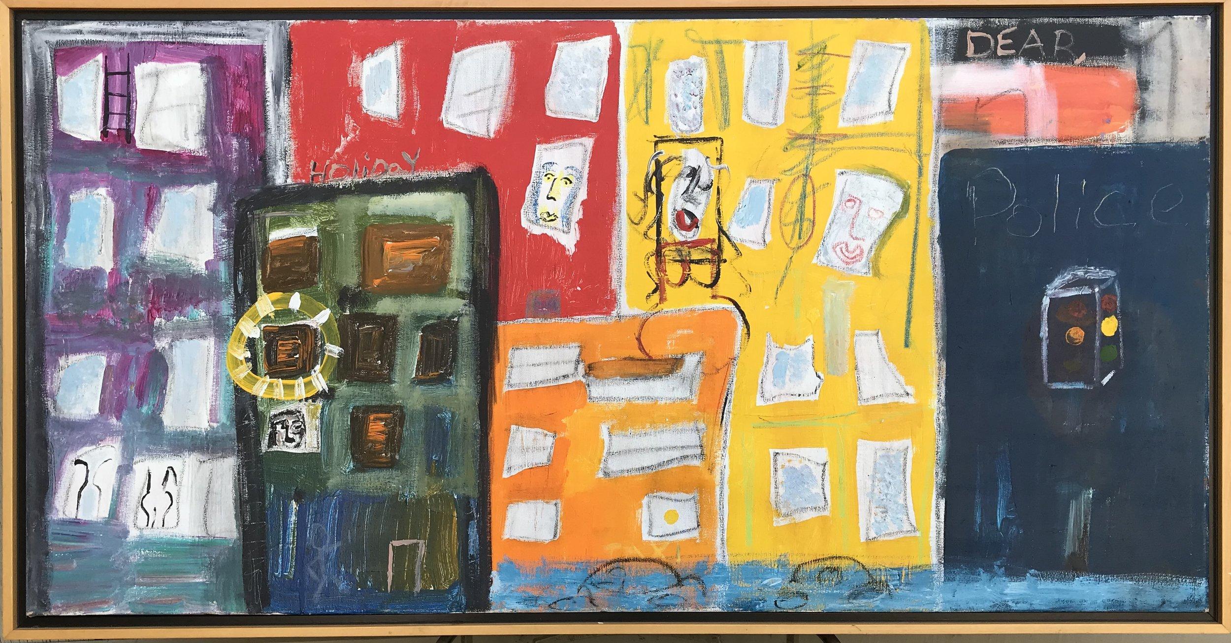 """Dear Police"" - 24"" x 48"" in 2"" deep floater frameValue: $4,700Opening bid: $1,850email your bid to: art@bradfordbrenner.com"