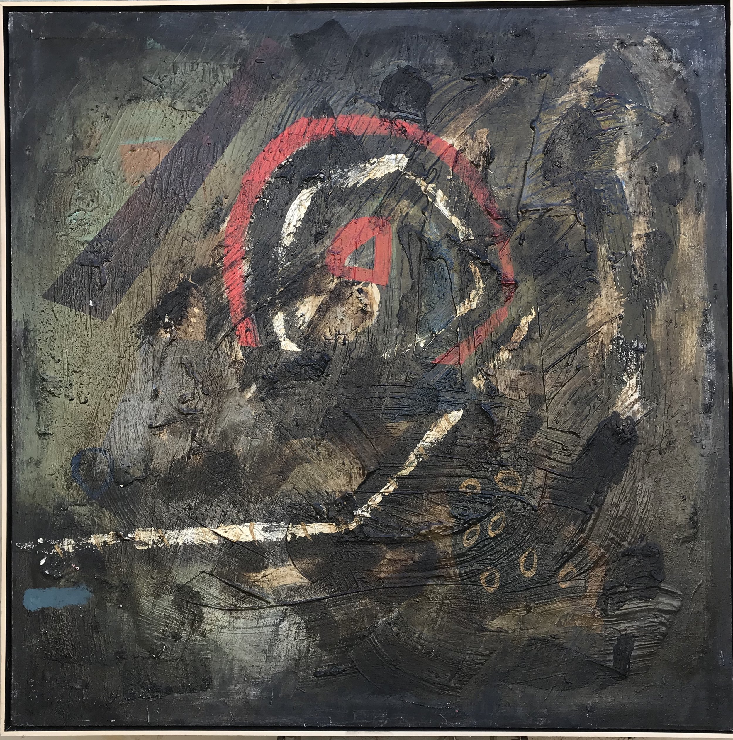 """Bullseye"" - 48"" x 48"" in 2 1/2"" deep floater frame, mixed media on canvasValue: $7,000Opening bid: $2,800email your bid to: art@bradfordbrenner.com"