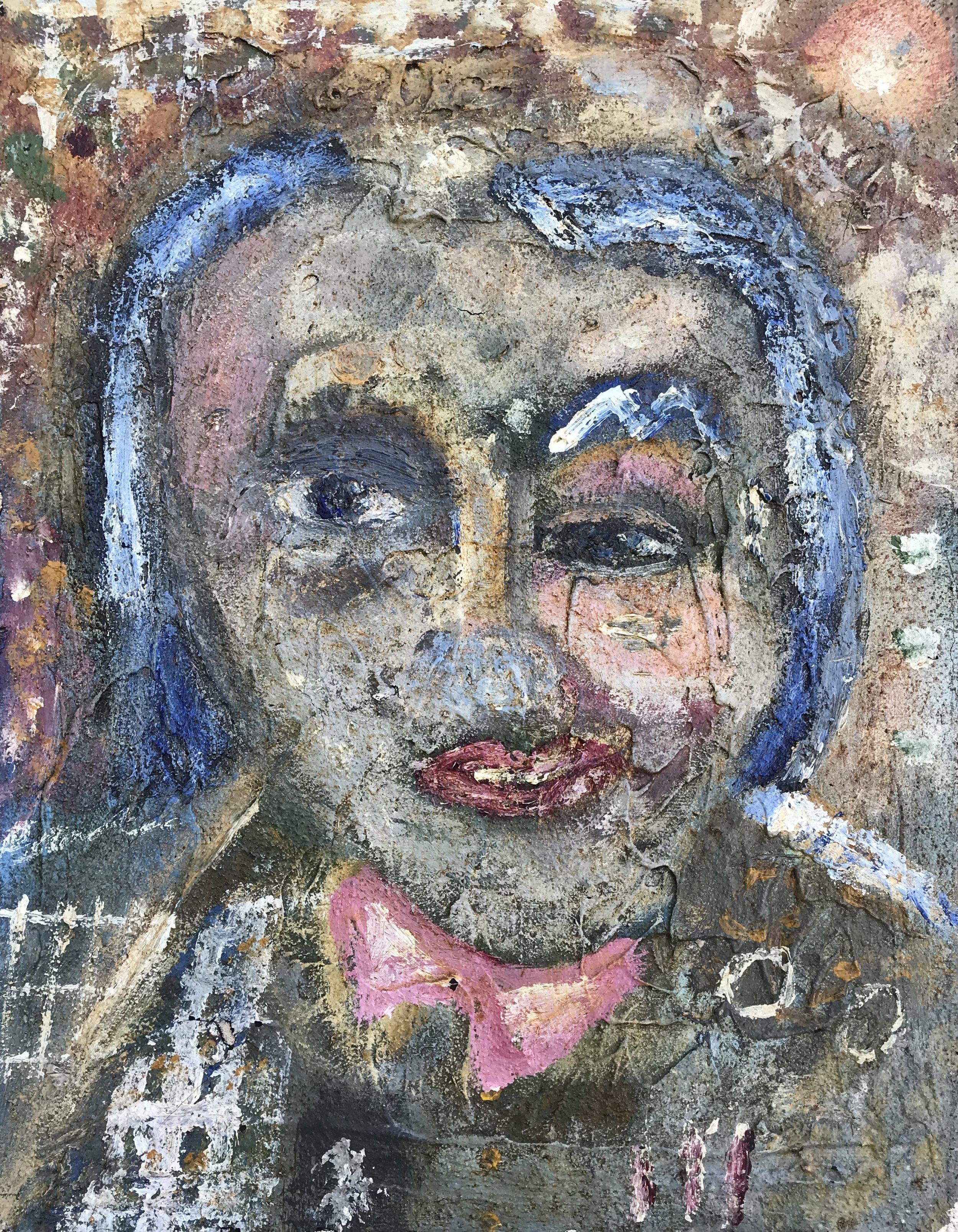 """Bobby Blue Eyes"" - 14"" x 11"" x 3/4"", mixed media on canvasValue: $1,000Opening bid: $400email your bid to: art@bradfordbrenner.com"