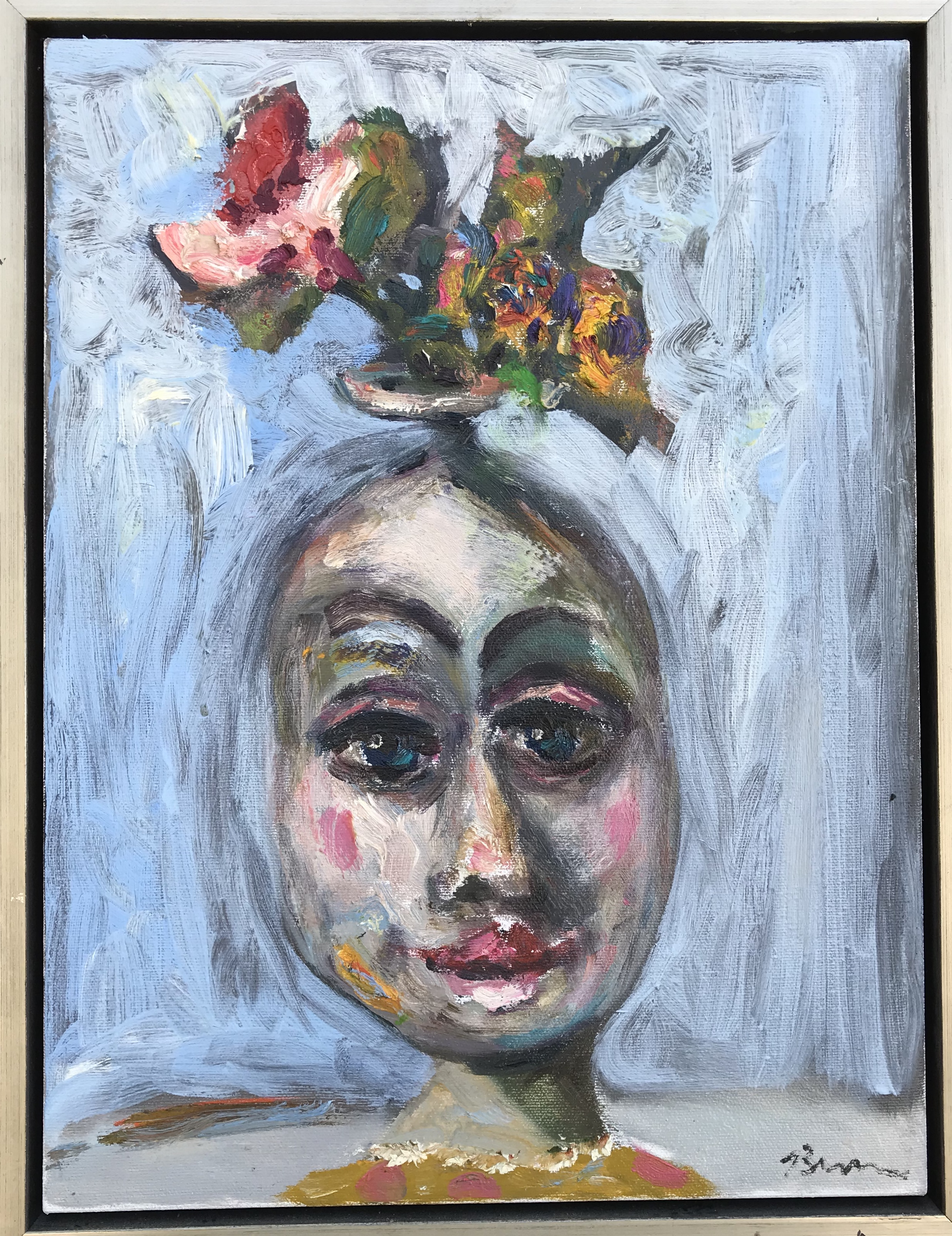 """""""Pot Head"""" - 16"""" x 12"""", in 2 1/2"""" plated silver wood floating frame, oil on canvasValue: $1,200Opening bid: $450email your bid to: art@bradfordbrenner.com"""