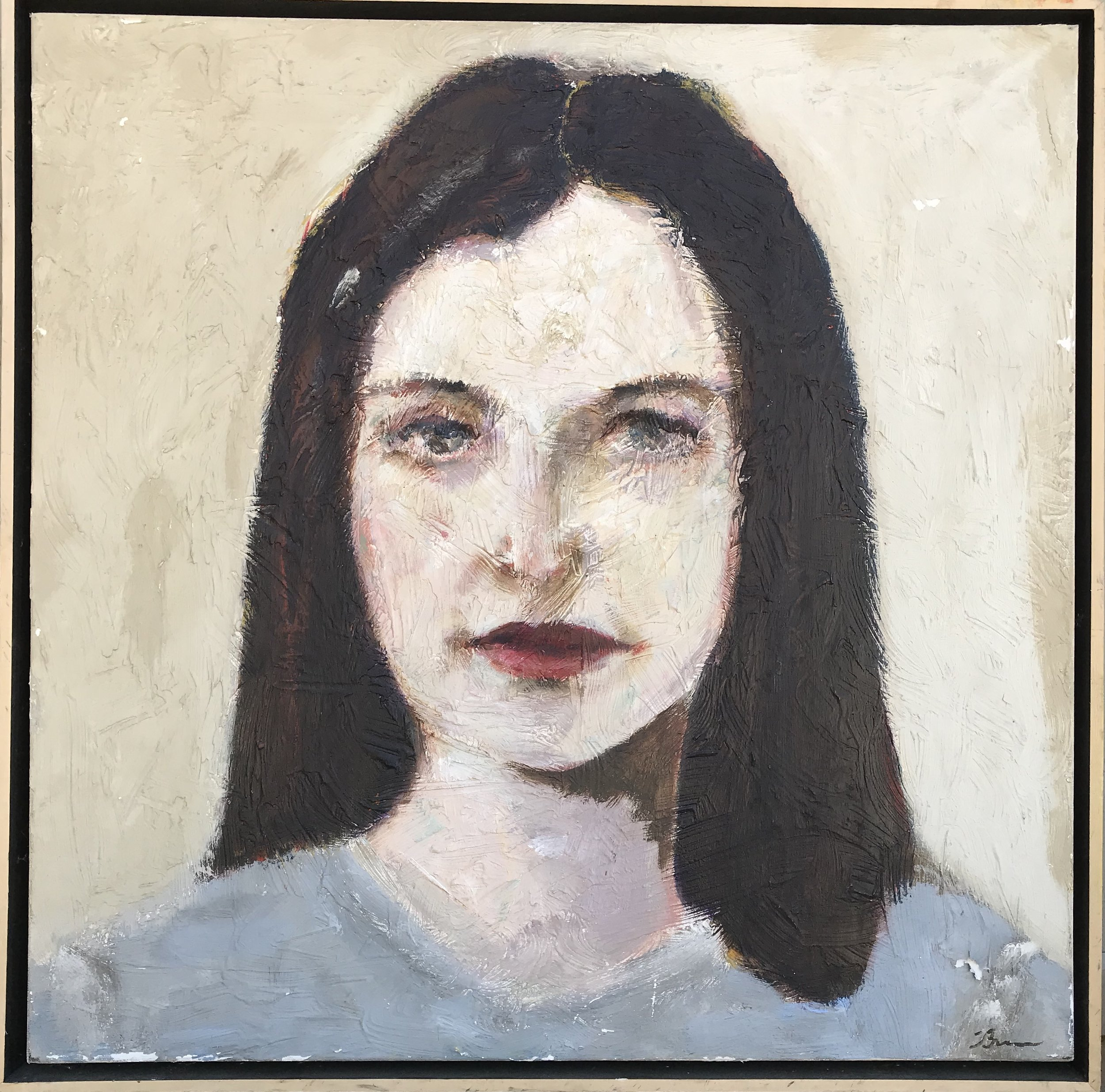 """""""Serious Serena"""" - 24"""" x 24"""" in 2 1/2""""wood floater frame, oil on canvasValue: $2,650Opening bid: $1,050email your bid to: art@bradfordbrenner.com"""