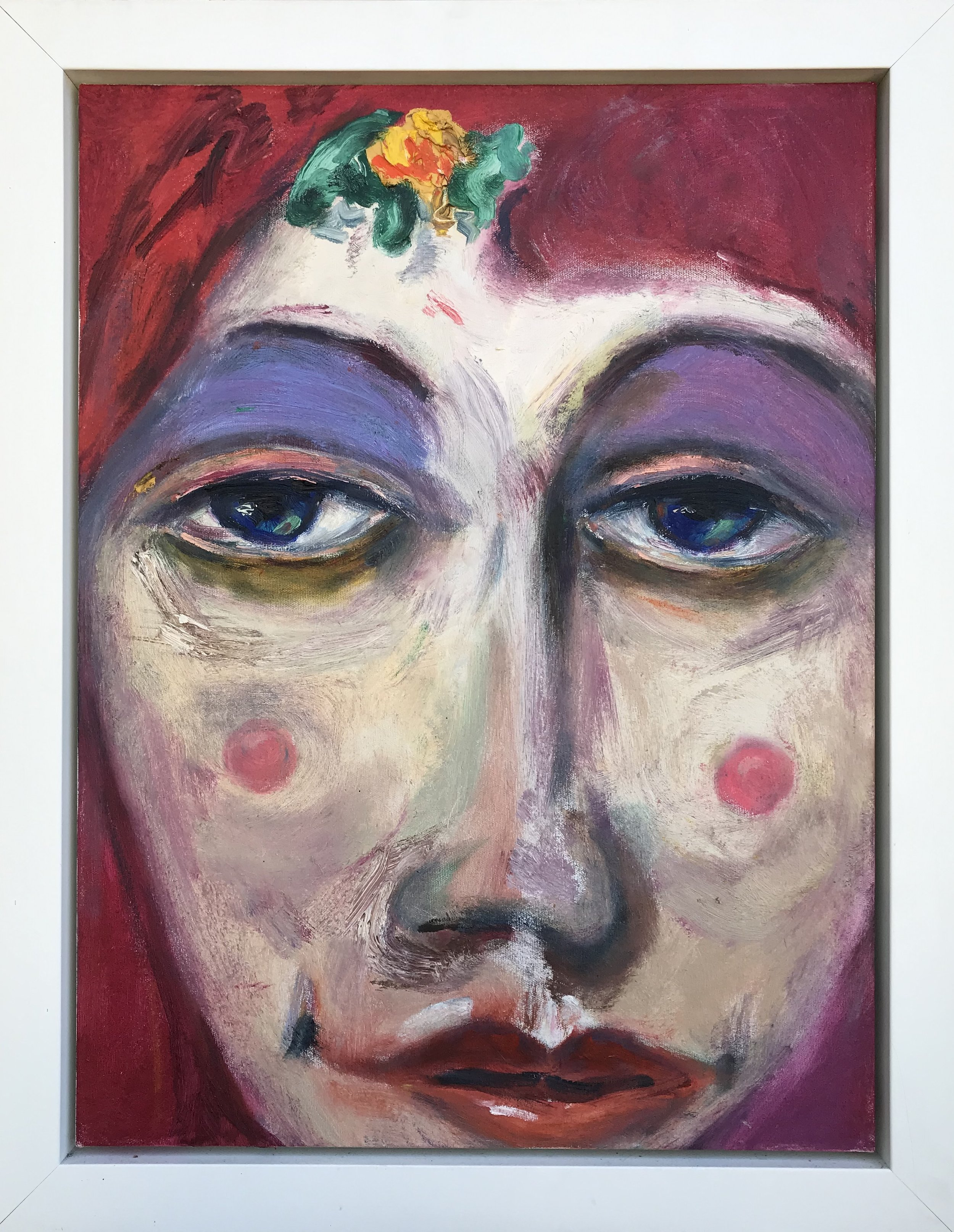"""""""Rosy Rosaline"""" - 24"""" x 18"""" in 3""""white lacquered wood floater frame, oil on canvasValue: $2,200Opening bid: $850email your bid to: art@bradfordbrenner.com"""