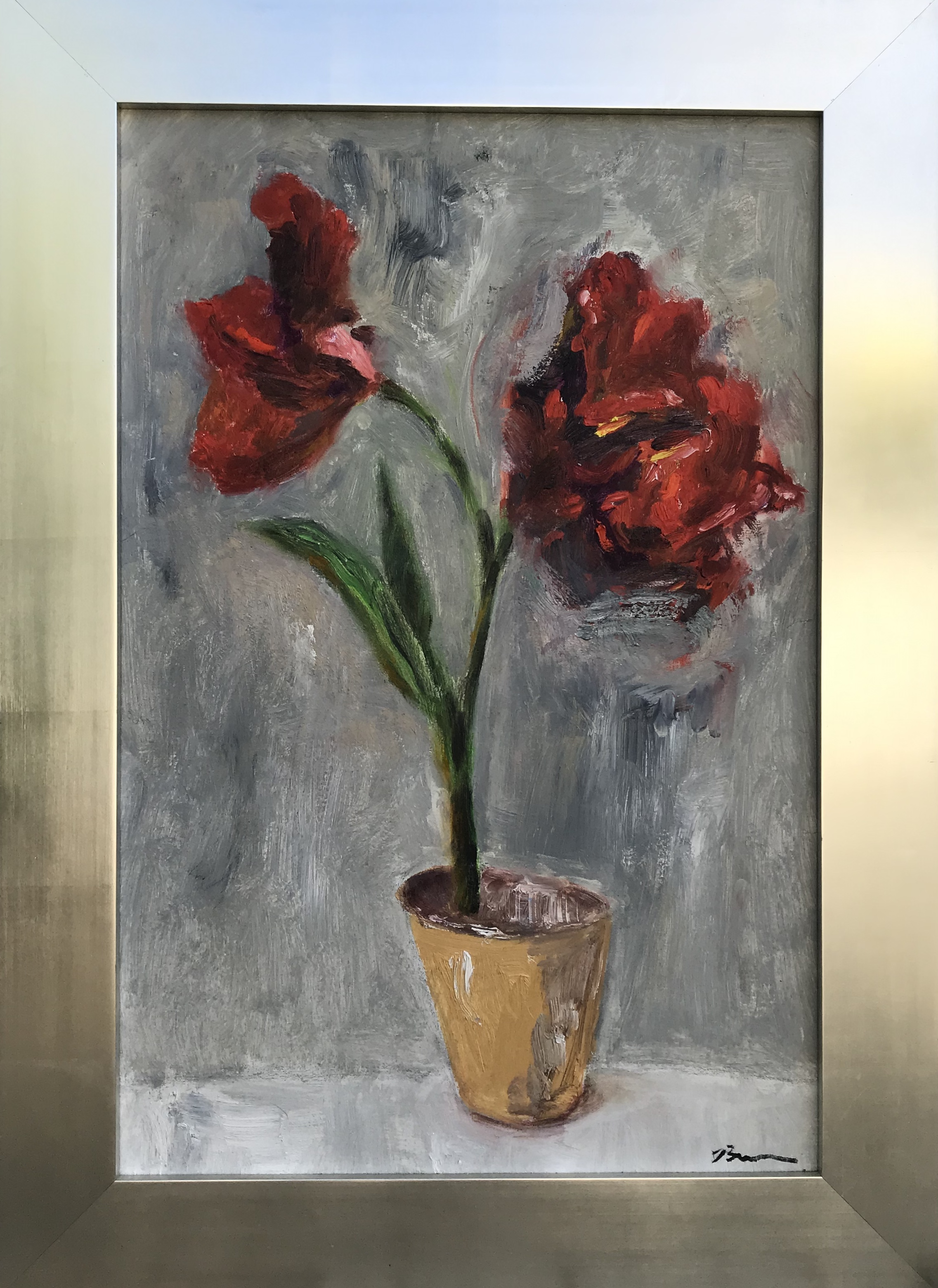 """""""Red Robin Red Robert"""" - 44"""" x 31"""" in silver plated frame, oil on canvasValue: $5,300Opening bid: $2,100email your bid to: art@bradfordbrenner.com"""
