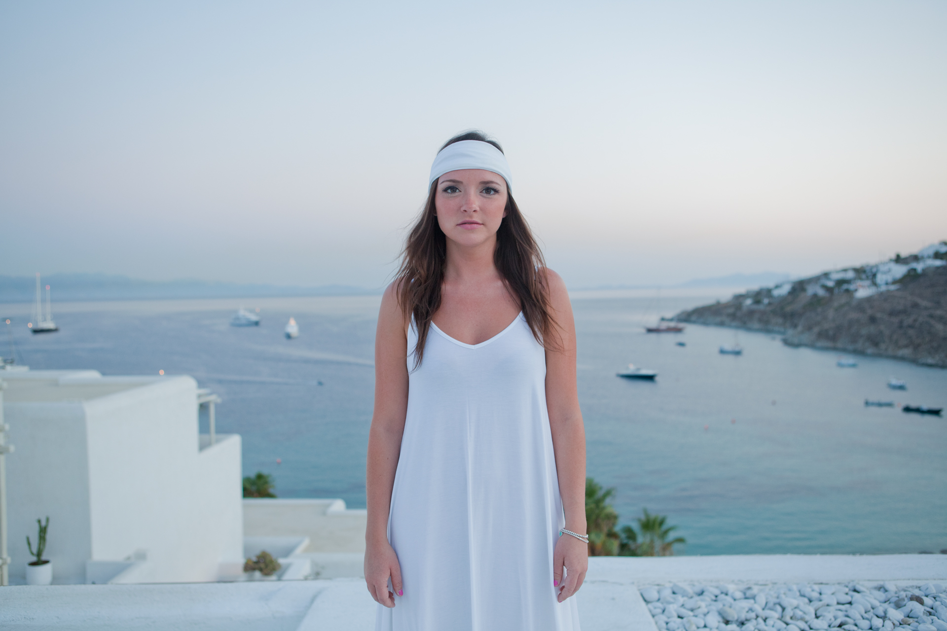 One of Eleni's shots from greece. Model wearing the  white hu headband