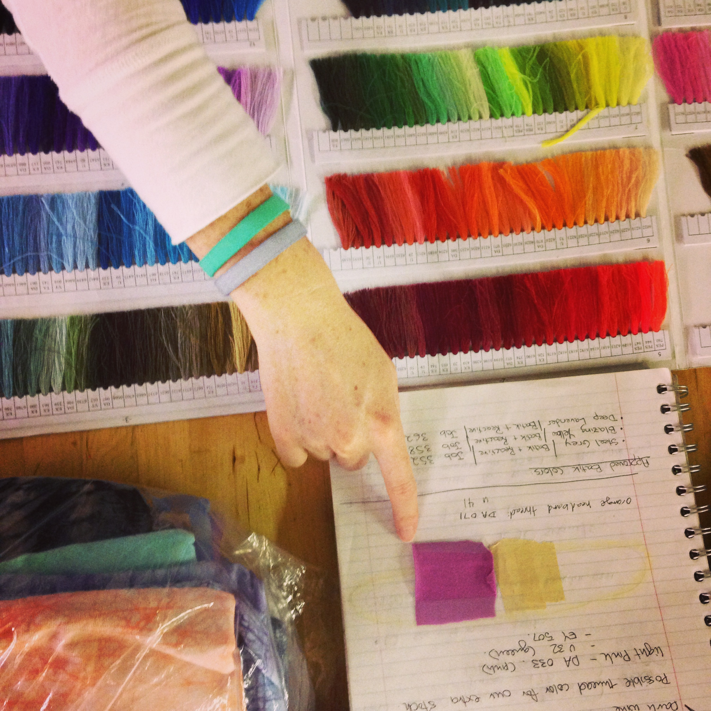 Once a color has been approved we turn our attention to finding the perfect thread color to match