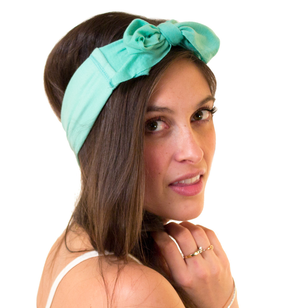 Opal Green Bow Headband