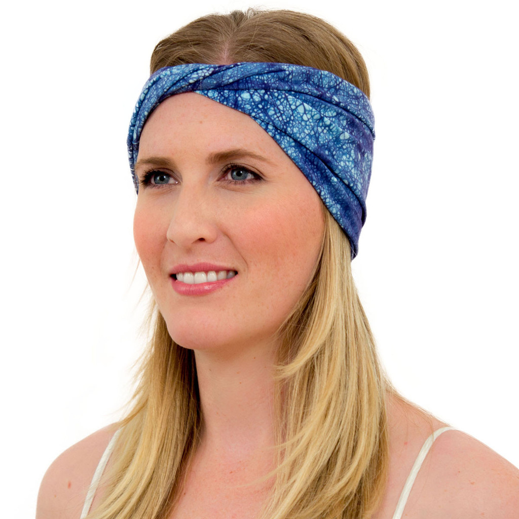 Navy Blue Crown Blue Batik Headband for Women