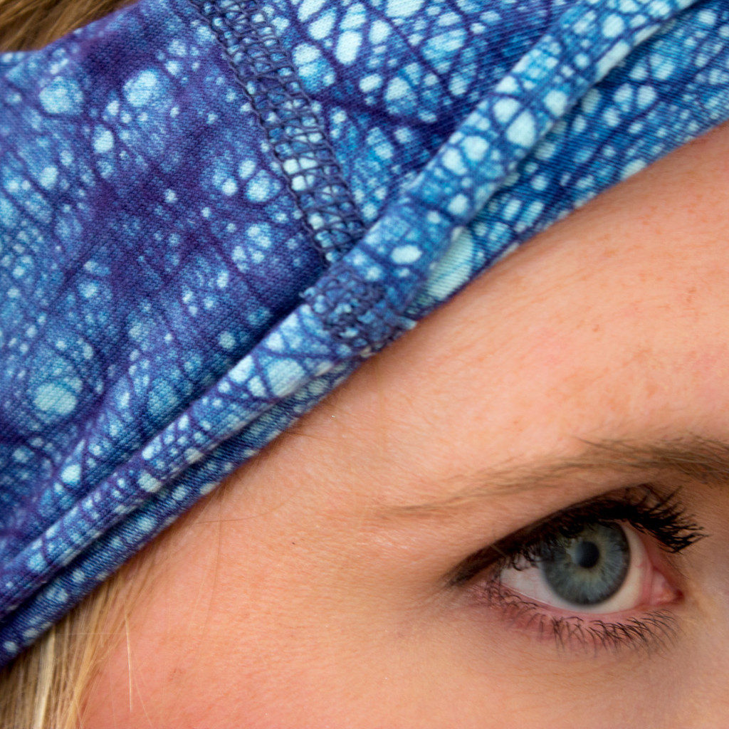 Dark Blue Head Wrap by KOOSHOO - the ENSO Batik Crown Blue