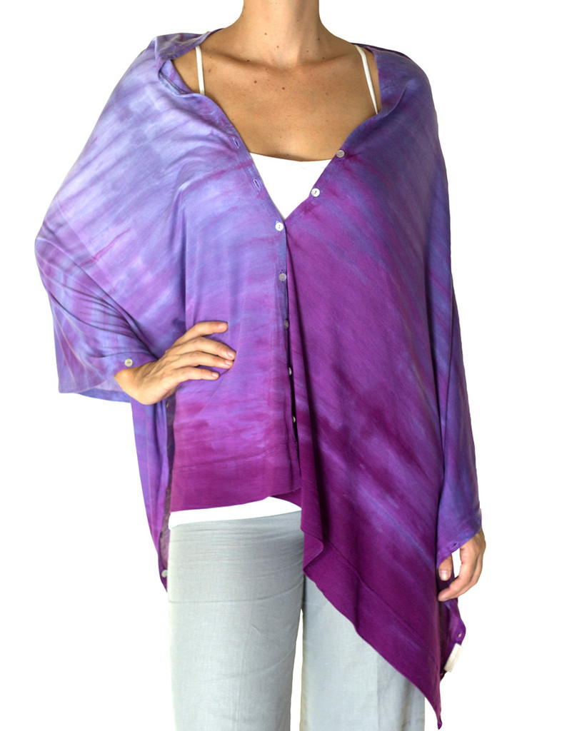 purple poncho silk
