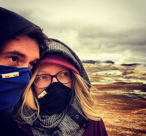 Breathing easy on the sulphuric tundra of iceland in the  versatile men's royal blue Enso headband