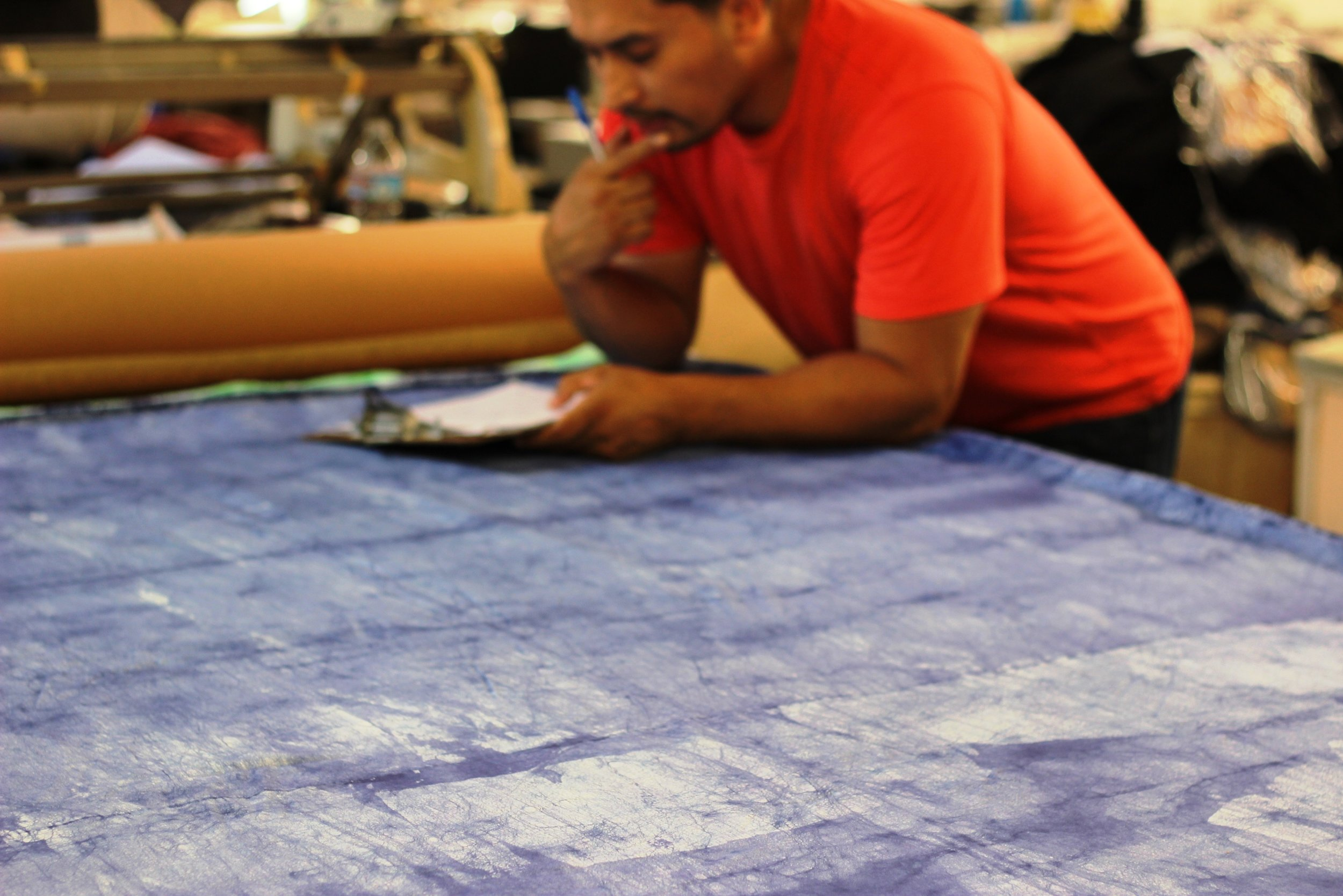 Great care goes into every product we make at kooshoo. Here we plan the cut pattern for the deep lavender headbands for  men  &  women