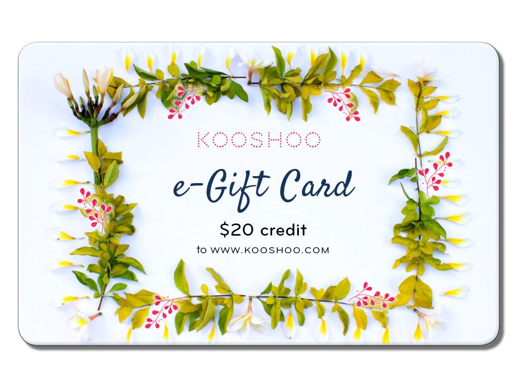 KOOSHOO e-gift card $20 promo code