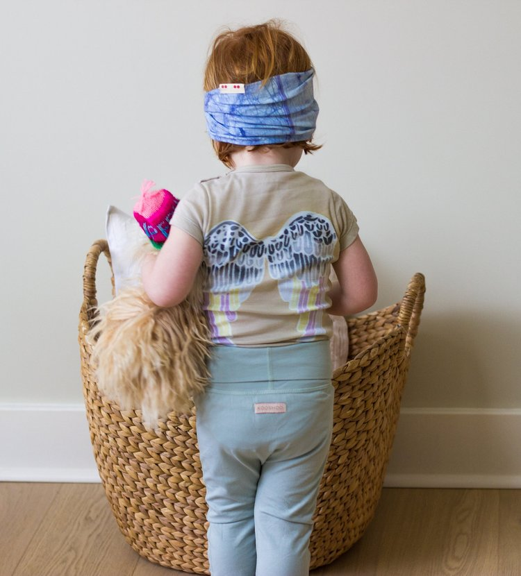 wawaha's  winged onesie  paired with kooshoo's  organic baby pants  and  organic headband