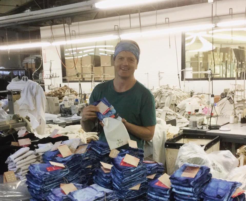 KOOSHOO co-founder, Jesse, packing kids pants back in 2015.