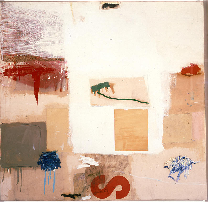 painting with the red letter s, 1957, oil and collage on canvas