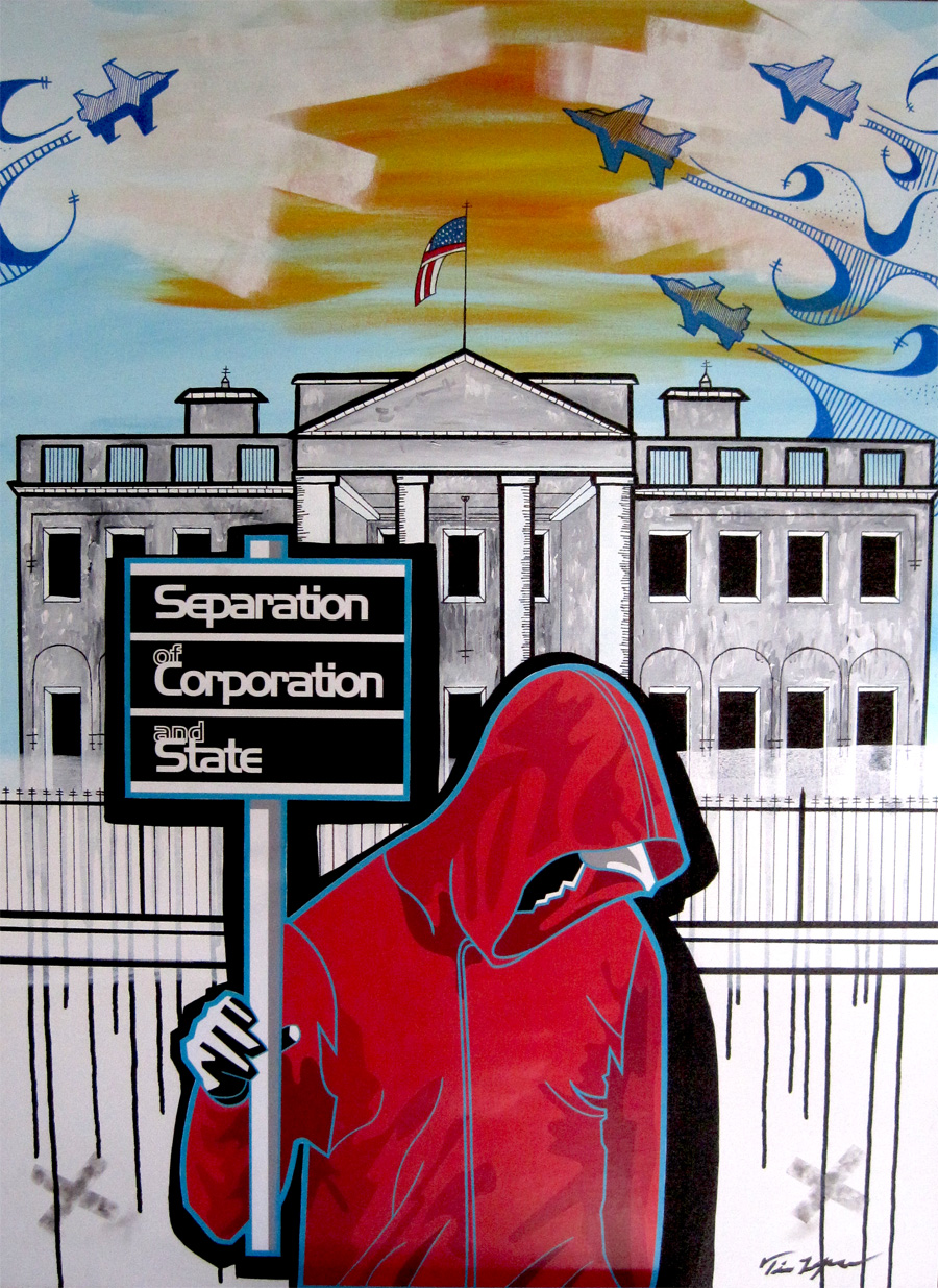 Corp & State  36 x 48 Mixed Media on canvas $5000