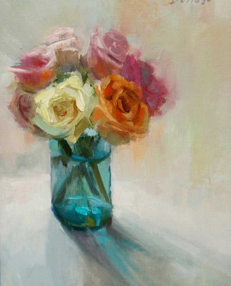 Roses in Turquoise Vase