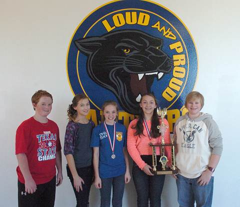 Bring back medals and a trophy from competing in the Region VIII Science Fair are Stone Middle School students Reese Mobley, Laney Young, Colleen Dawson, Allison Bright, and Parker Freeman.