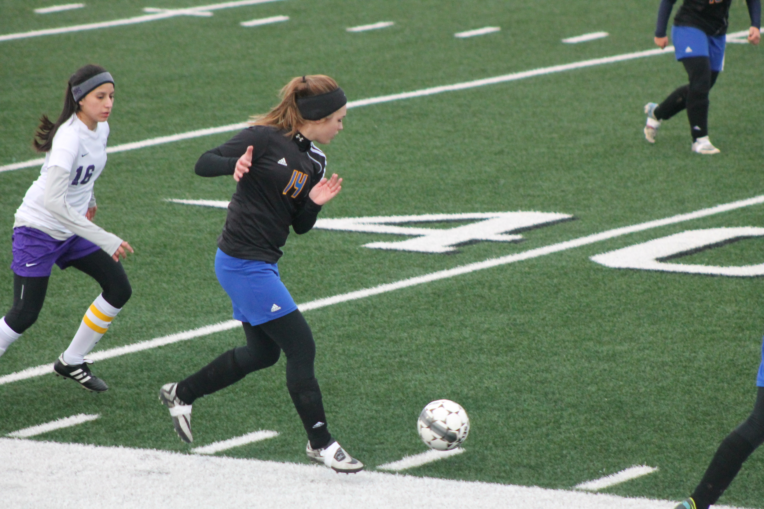 Photo by Adam Routon) Karlee Alexander moving the ball for the Pantherettes against Bonham