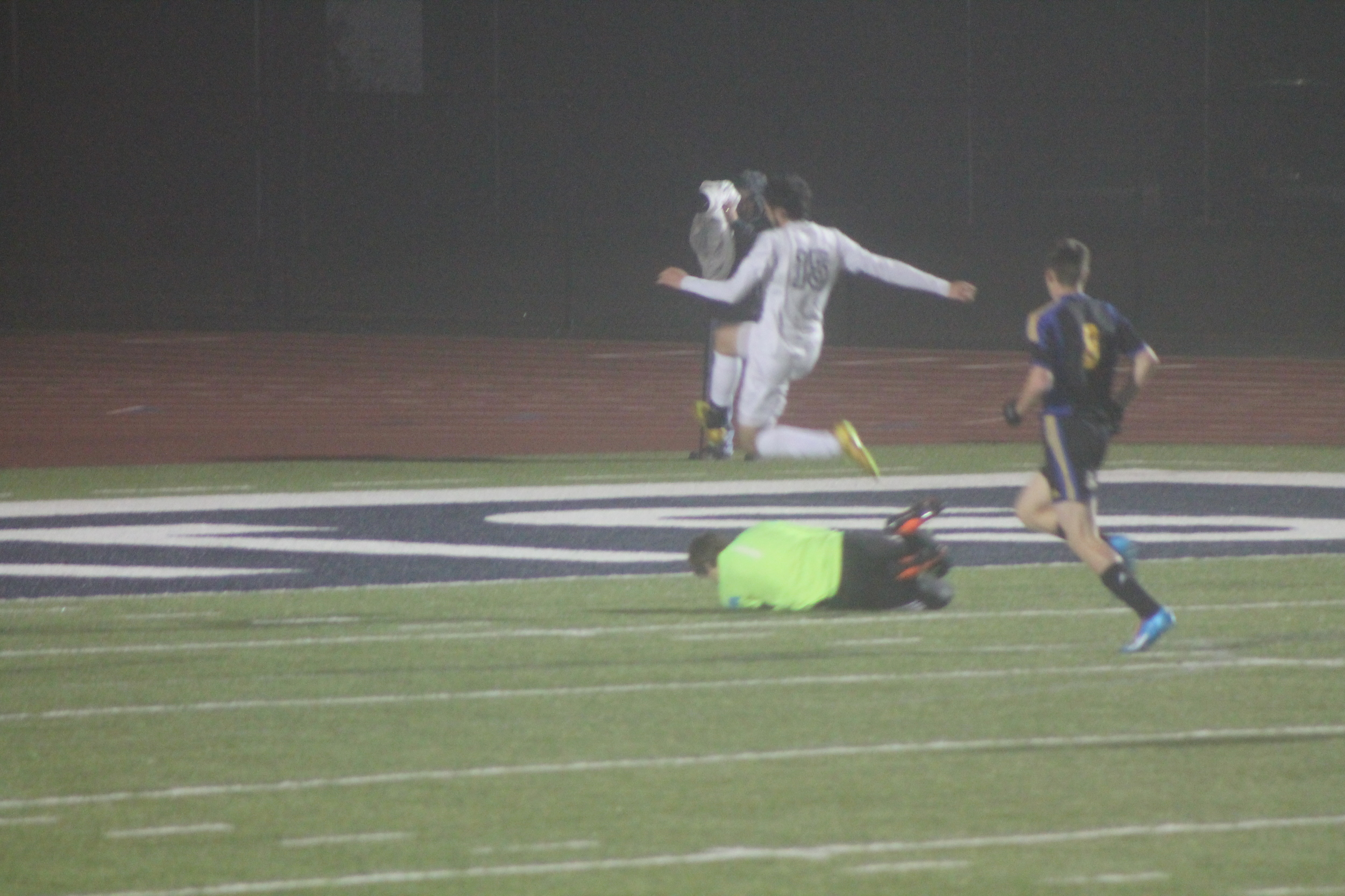 (Photo by Jared Routon) North Lamar goalie Nick West makes a save against Paris High.